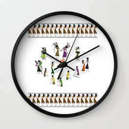 Wedding_Ceremony_Saura_Tribal_Art Wall Clock