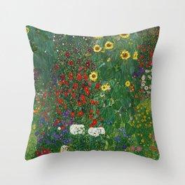 Gustav Klimt - Farm Garden With Flowers Throw Pillow