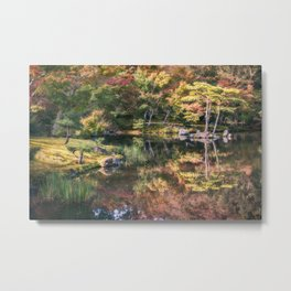 Japanese Garden, colorful in autumn in Kyoto. Metal Print