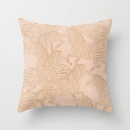 Zebra Stampede in Blush + Beige Throw Pillow