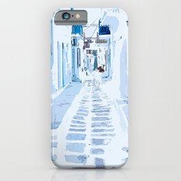 MyKonos Greece Watercolor Digital Painting iPhone Case