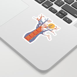 African Baobab tree of life at Sunset Sticker