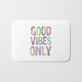 Good Vibes Only Watercolor Rainbow Typography Poster Inspirational childrens room nursery Bath Mat