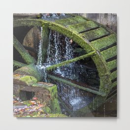 Water Wheel - Old Saw Mill Wheel on Autumn day in the Great Smoky Mountains Metal Print