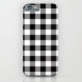 Buffalo Plaid White Black Lumberjack Pattern Farmhouse iPhone Case