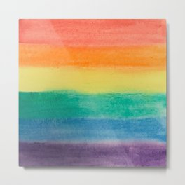 Large Hand Painted Watercolor Gay Pride Rainbow Equality and Freedom Flag Metal Print