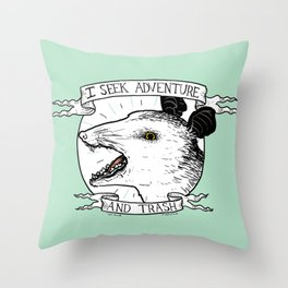 ADVENTURE AND TRASH Throw Pillow