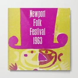 Vintage 1963 Newport Folk Festival Advertisement Poster Metal Print