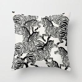 Zebra Stampede in Black + Bone Throw Pillow