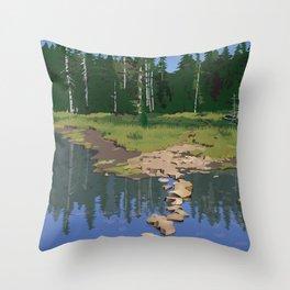 Rock Lake Version 2 Throw Pillow