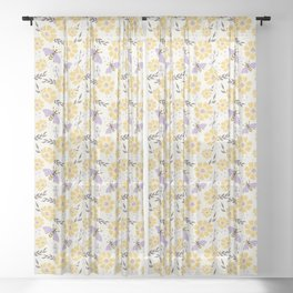 Honey Bees and Flowers - Yellow and Lavender Purple Sheer Curtain