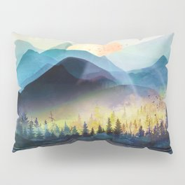 Mountain Lake Under Sunrise Pillow Sham