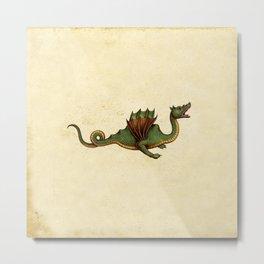 Medieval Green Dragon Metal Print
