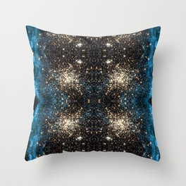 Blue Aurora Galaxy Star Field Throw Pillow