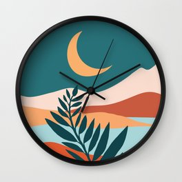 Moonlit Mediterranean / Maximal Mountain Landscape Wall Clock