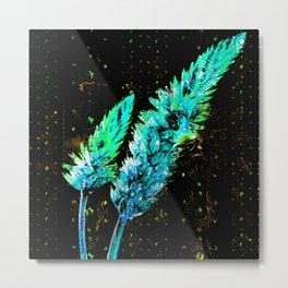 359 Aqua Flower Sprays Metal Print