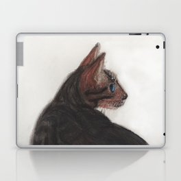 Dave the Bengal Cat, pastel, oil pastel, pencil, charcoal, by Candy Medusa, Black Dwarf Designs Laptop & iPad Skin