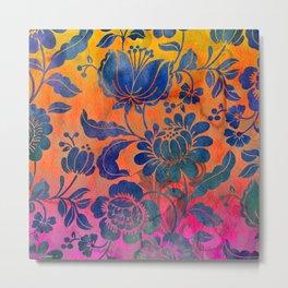 Watercolor boho flowers Metal Print