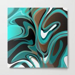 Liquify - Brown, Turquoise, Teal, Black, White Metal Print