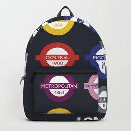 London subway poster, metro alphabet map, underground sign, London tube Backpack