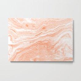 Rose-gold marble swirls Metal Print