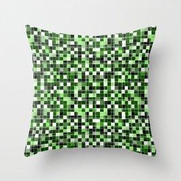 Grey, white, black, green, mint mosaic. Throw Pillow