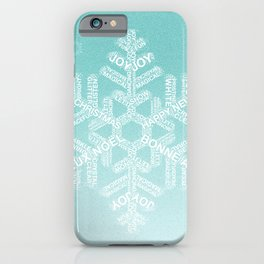 Typographic Snowfake Greetings - Ombre Teal iPhone Case