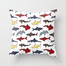 Sharks in Nautical Colors Throw Pillow
