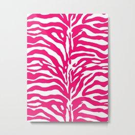 Wild Animal Print, Zebra in Fuchsia Pink and White Metal Print