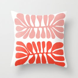 Matisse inspired pink, yellow and red cut-out shapes with texture Throw Pillow