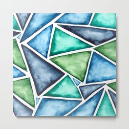 Large scale fragmentation. Watercolor triangles. Metal Print