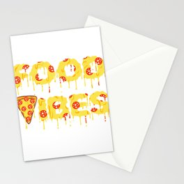 """""""Good Vibes"""" Food Shirt For Snack Lovers Pepperoni Mushroom Meatballs Cheese Oven Foodporn Bake Stationery Cards"""