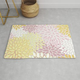 Floral Pritns, Soft, Yellow and Pink, Design Prints Rug