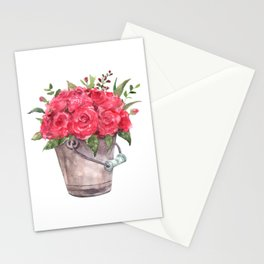 Watercolor red roses bouquet in a metal bucket Stationery Cards