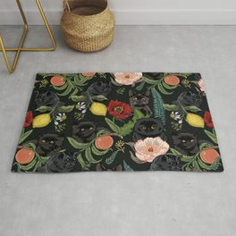 Botanical and Black Cats Rug