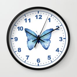 Blue Butterfly Watercolor Wall Clock