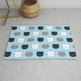 Cute Cats & Kawaii Kittens (Blue) Rug