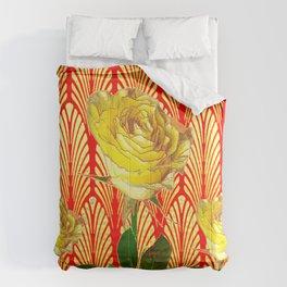 GRAPHIC YELLOW ROSE GARDEN ON RED ART DECO Comforters