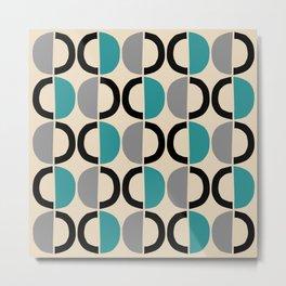 Mid Century Modern Half Circle Pattern 550 Beige Black Gray and Turquoise Metal Print