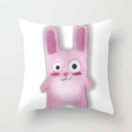 Watercolor Freezer Bunny Throw Pillow