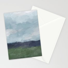 Rainy Blue Skies Navy Indigo Horizon Green Grass Abstract Nature Farmhouse Painting Art Print Wall Decor  Stationery Cards