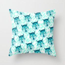 husky - wht pattern Throw Pillow