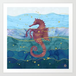 The Fantastic Seahorse in the Ocean- A Surrealist Hippocampus Horse Art Print