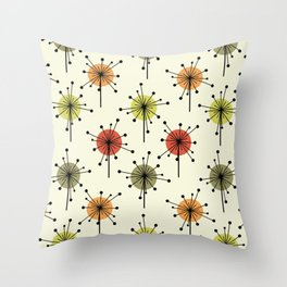 Midcentury Sputnik Starburst Flowers Chartreuse Throw Pillow
