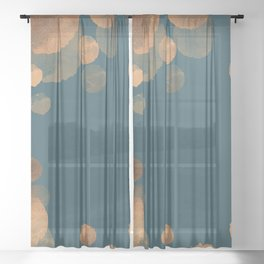 Copper Art Deco on Emerald Sheer Curtain