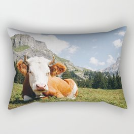 Photo of Chill Mountain Cow II, in Kandersteg, Suisse/Switzerland Alps | Fine Art Travel Photography |  Rectangular Pillow