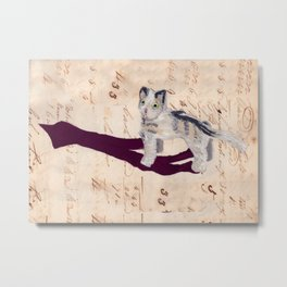 Vintage Fabric Stuffed Cat in Gouache Metal Print