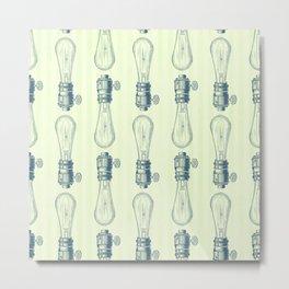 Vintage Light Bulbs Neck Gator Hand Drawn Light Bulb Metal Print
