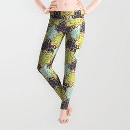 Trendy modern lime green black cactus floral pattern Leggings