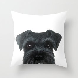New Black Schnauzer, Dog illustration original painting print Throw Pillow